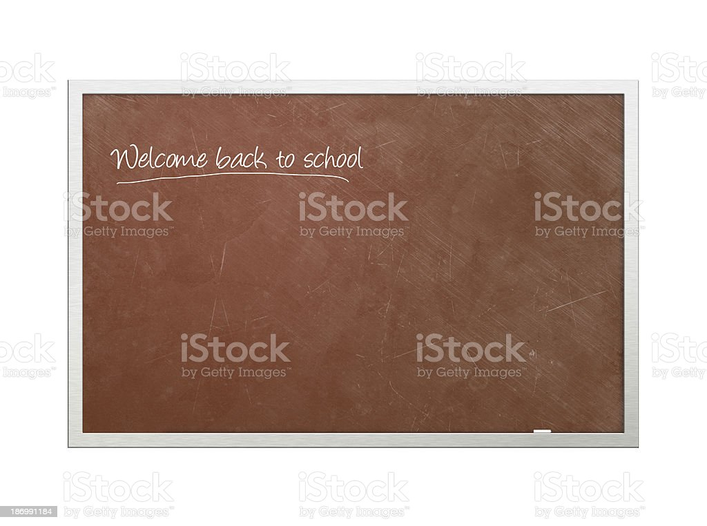 'Welcome back to school' written on chalkboard stock photo