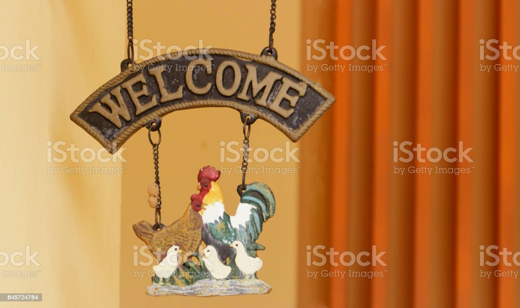 Welcome banners and clay of chicken stock photo