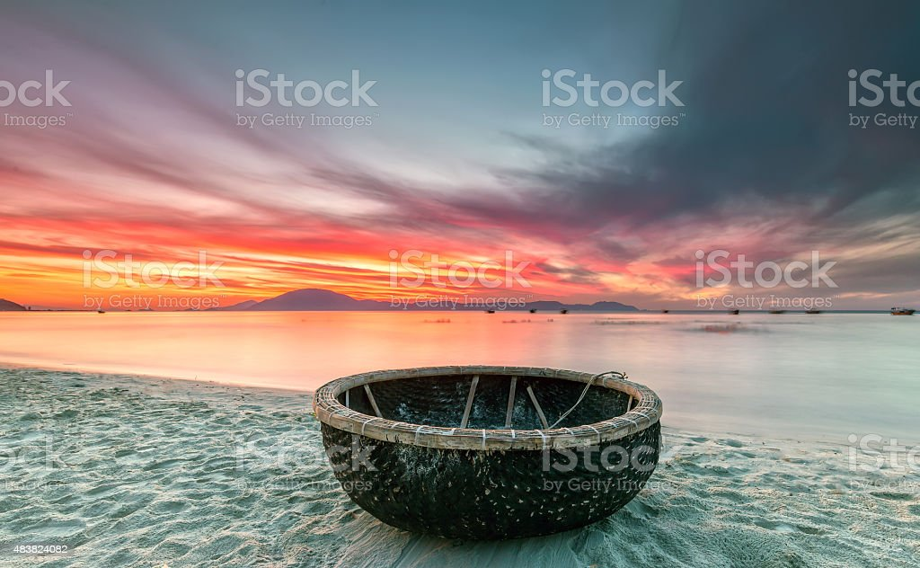 Welcome basket boat sunrise stock photo