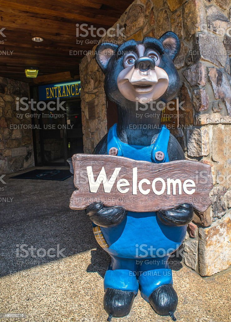 Welcome Bear In Downtown Gatlinburg stock photo