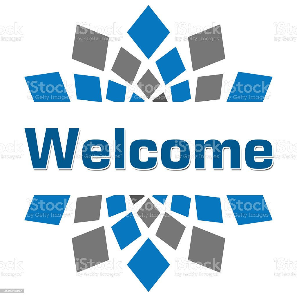 Welcome Blue Grey Square stock photo