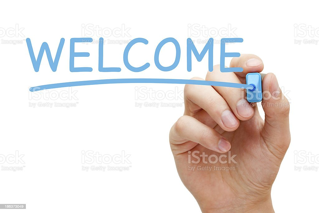 Welcome Blue Marker stock photo