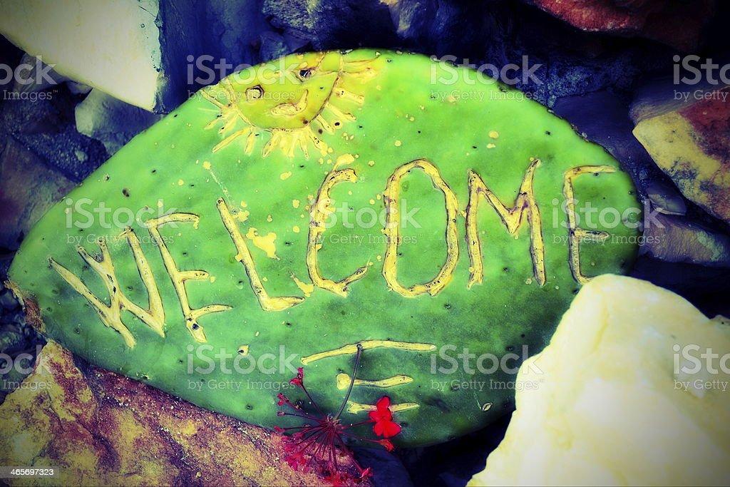 Welcome Cactus stock photo