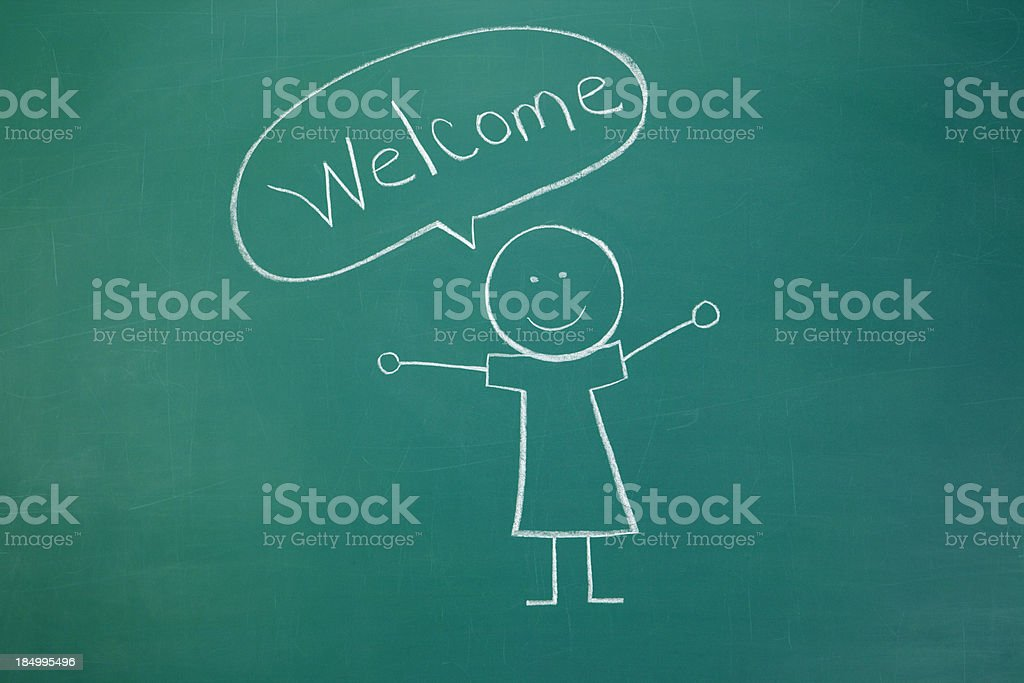 Welcome Chalk Drawing royalty-free stock photo
