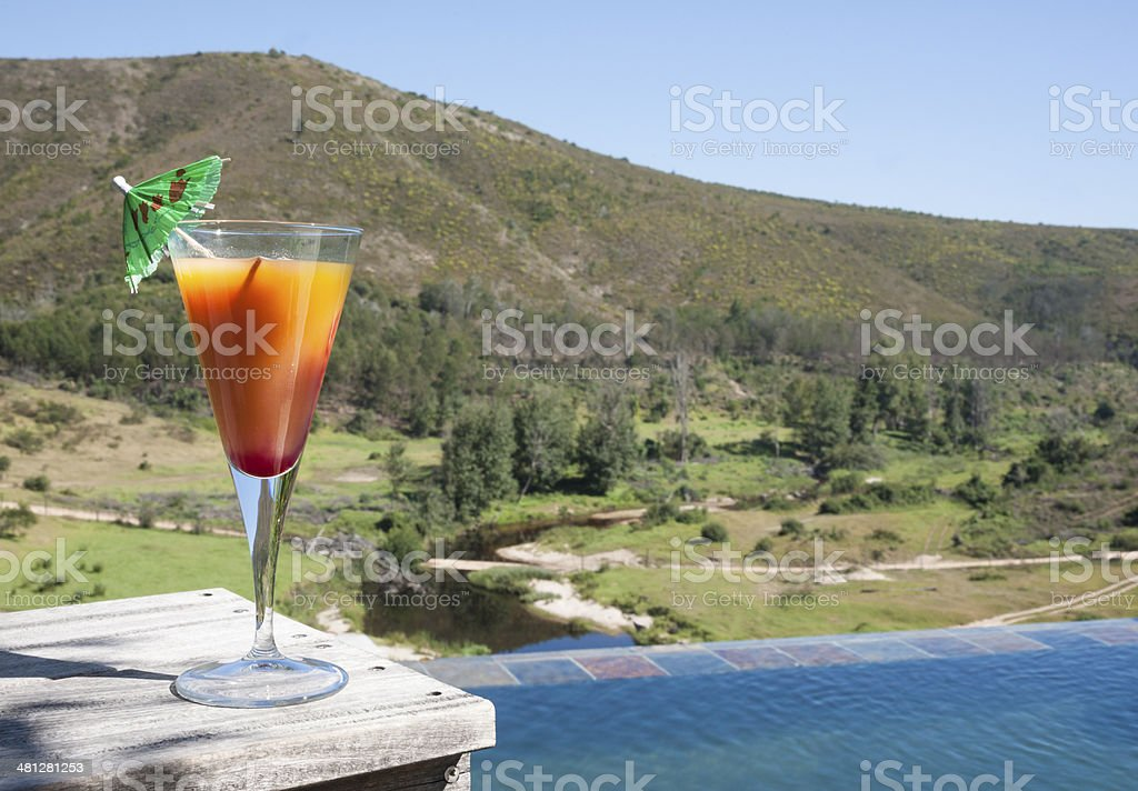 Welcome cocktail at safari lodge stock photo