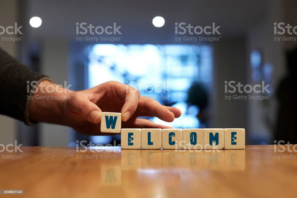 Welcome Concept with Alphabet Blocks stock photo