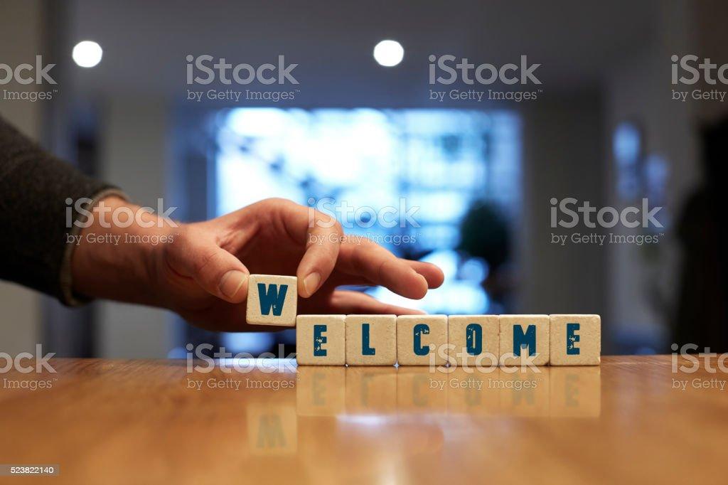 Welcome Concept with Alphabet Blocks stock photo