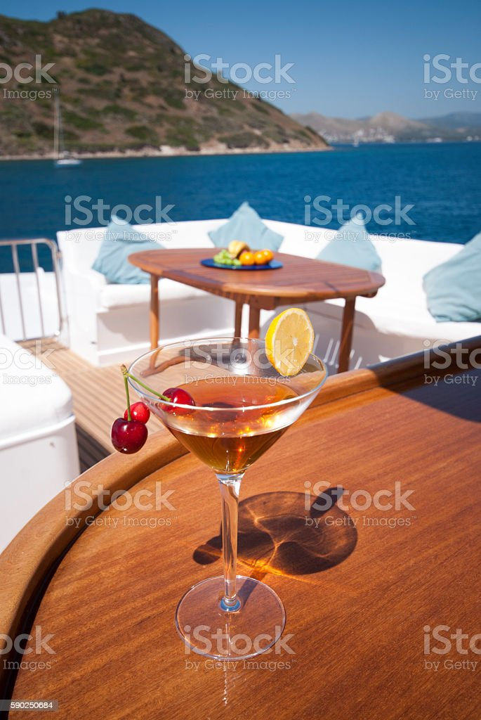 welcome drink on luxury yacht stock photo