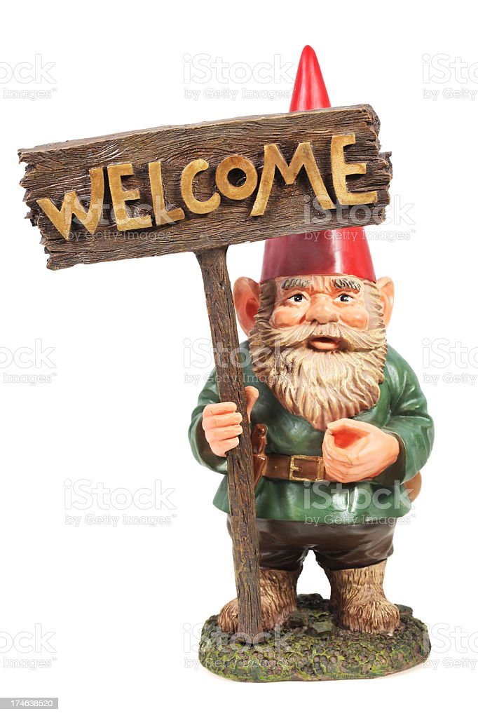 Welcome Garden Gnome stock photo