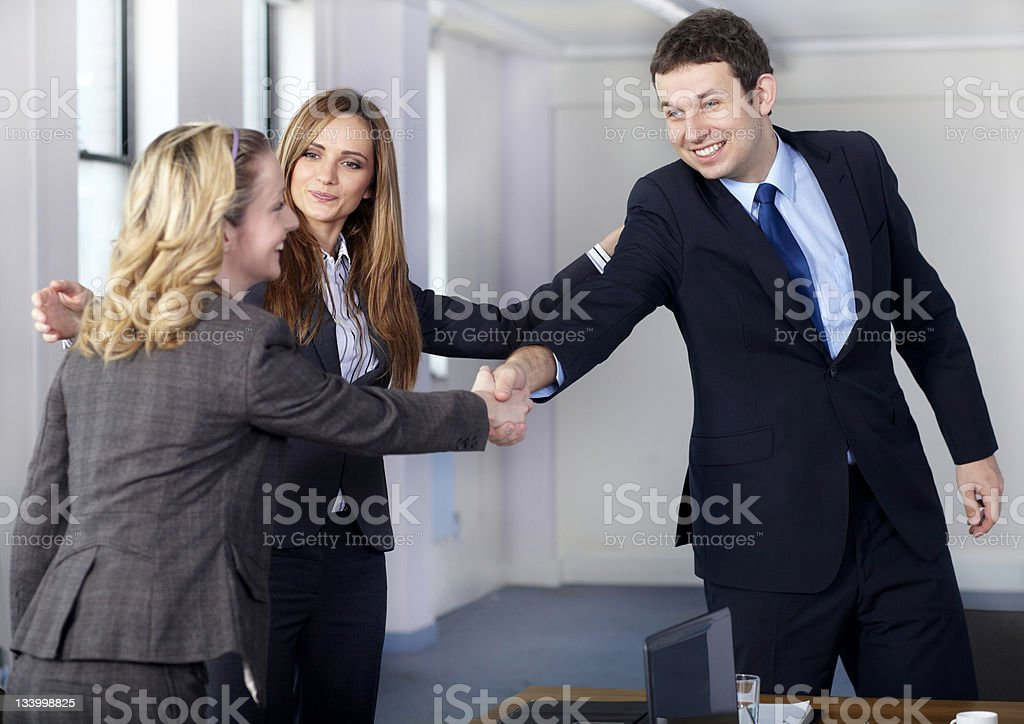 Welcome handshake before business meeting royalty-free stock photo