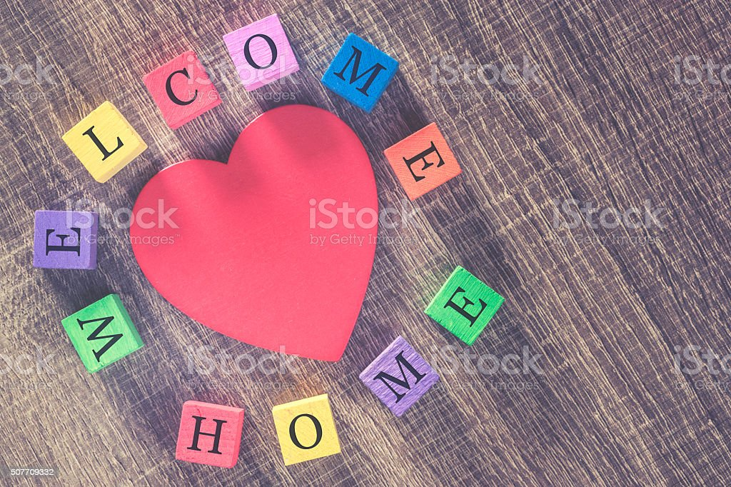 Welcome Home message stock photo