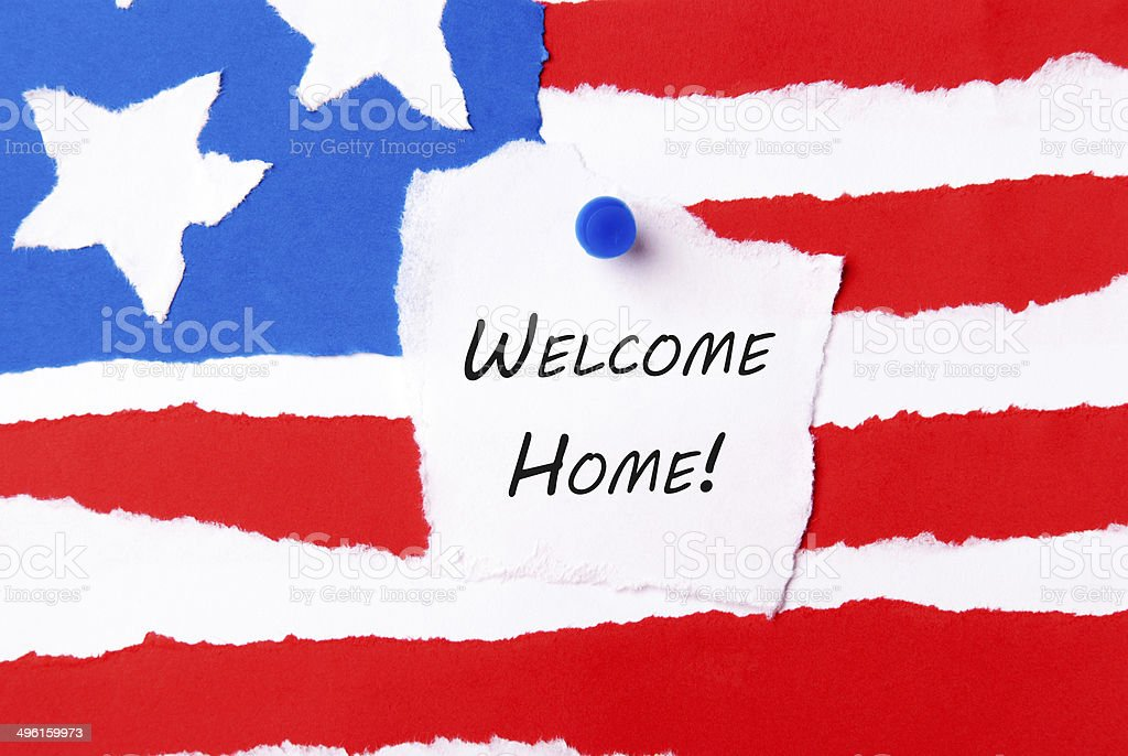 Welcome Home Note stock photo