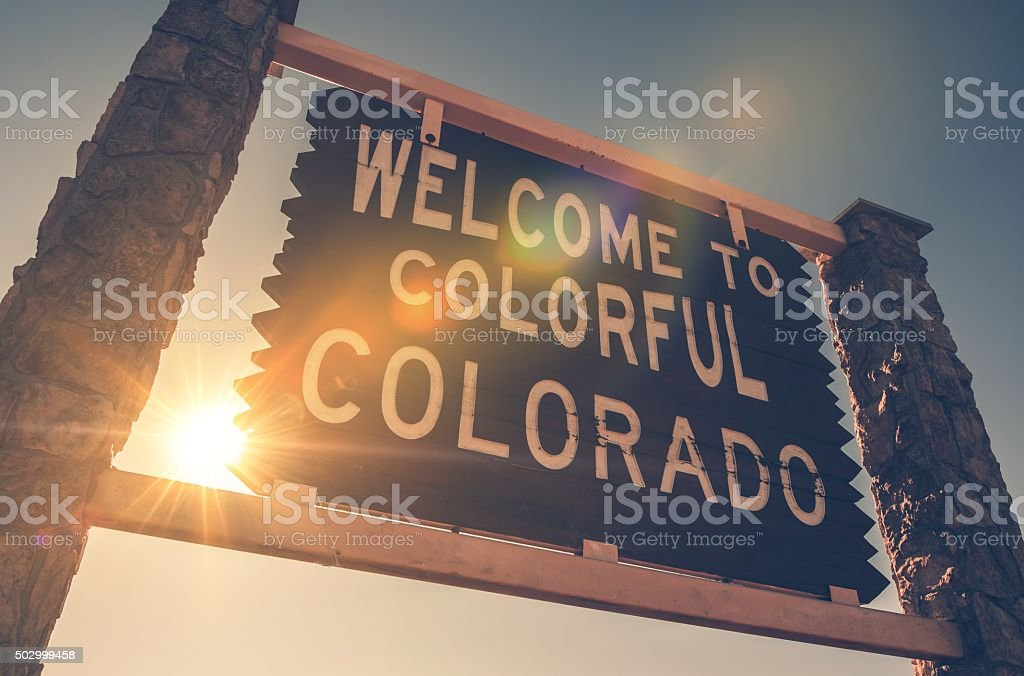 Welcome in Colorado Sign stock photo