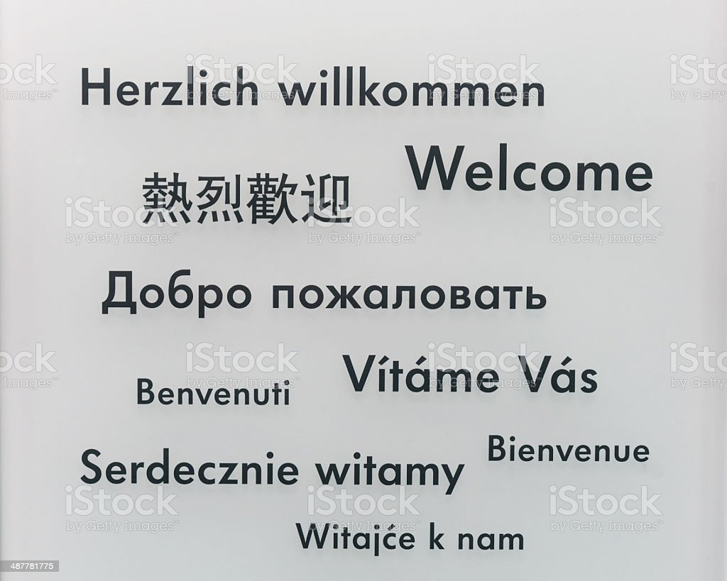 Welcome in different languages vector art illustration