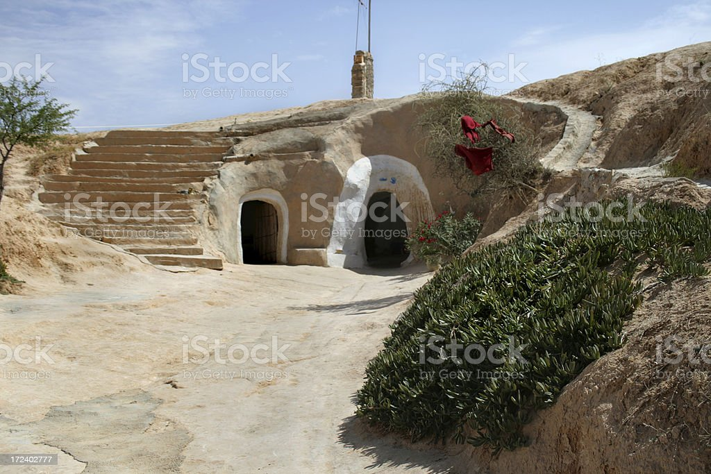 Welcome in troglodyte house stock photo