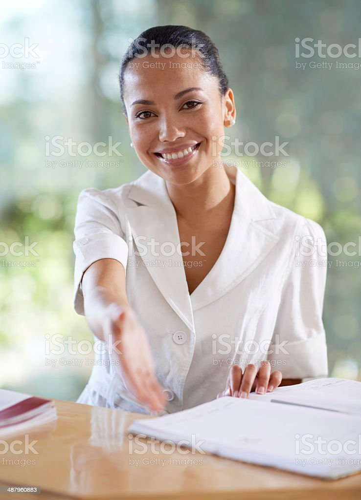 Welcome, it's a pleasure to meet you! stock photo