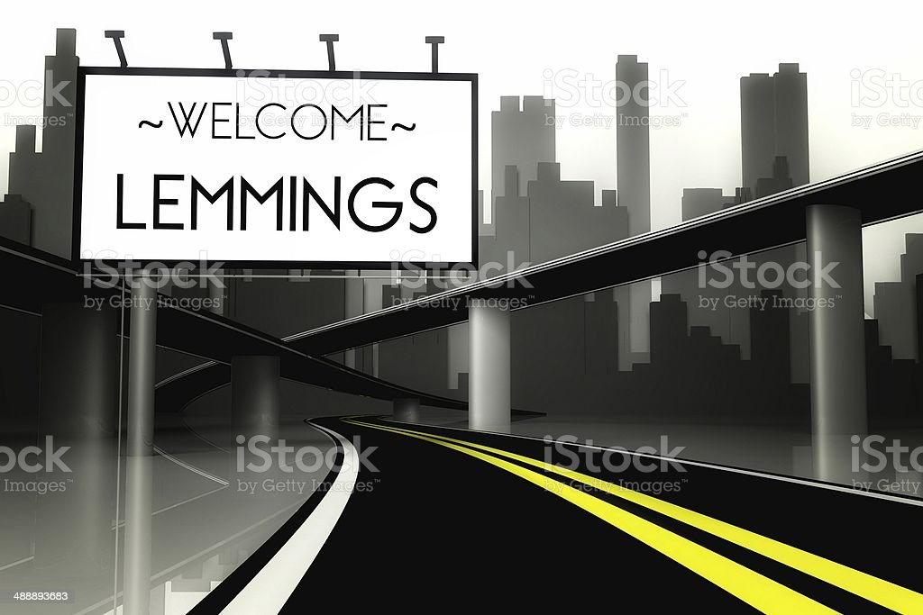 Welcome lemmings in conceptual big city stock photo