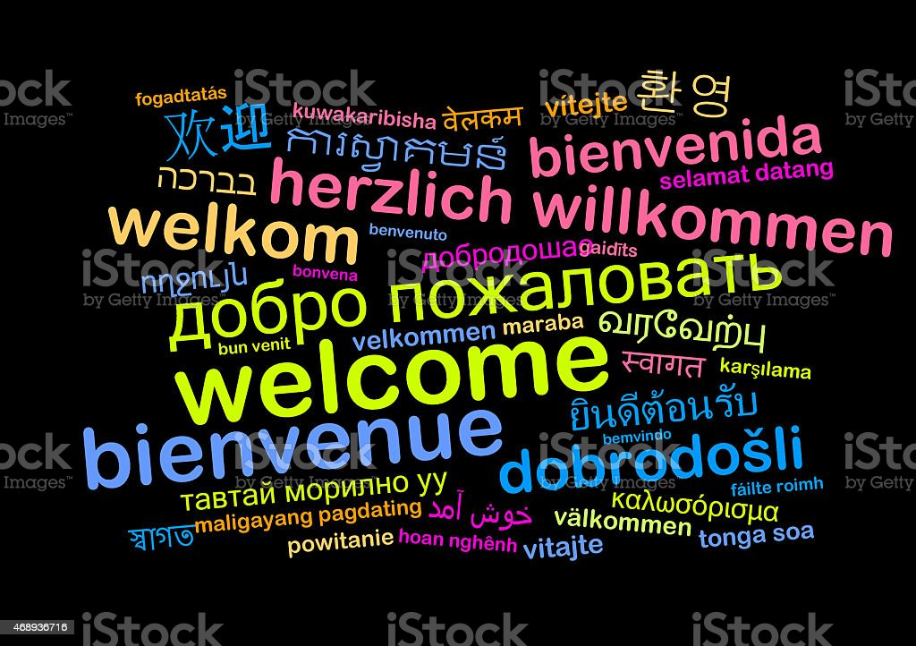 Welcome multilanguage wordcloud background concept stock photo