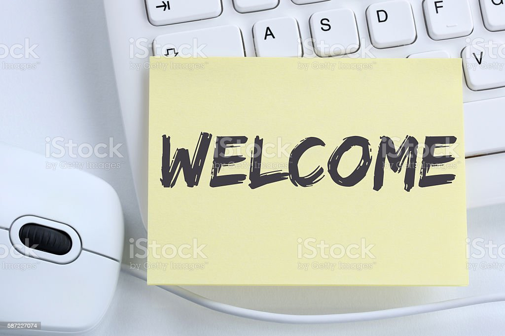 Welcome new employee colleague refugees refugee immigrants office stock photo