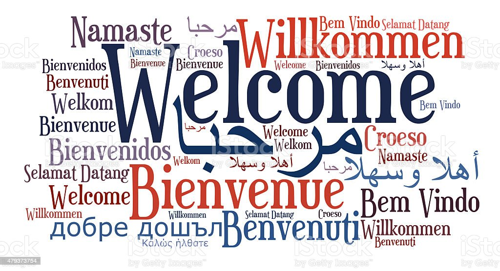 Welcome phrase in different languages stock photo