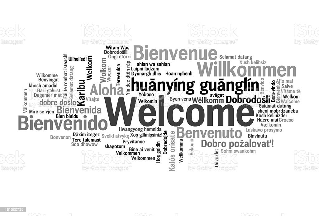 Welcome phrase words cloud concept stock photo