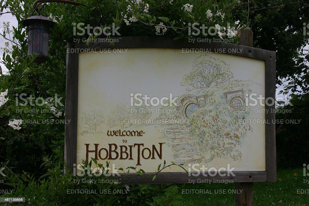 Welcome Sign at Hobbiton stock photo