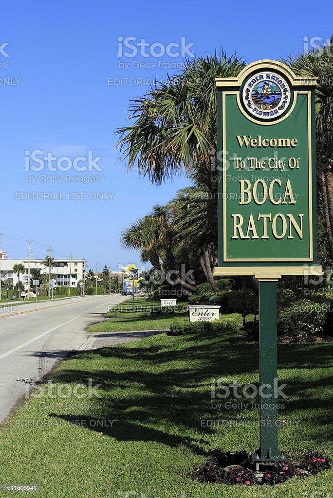 Welcome Sign Boca Raton, FL stock photo