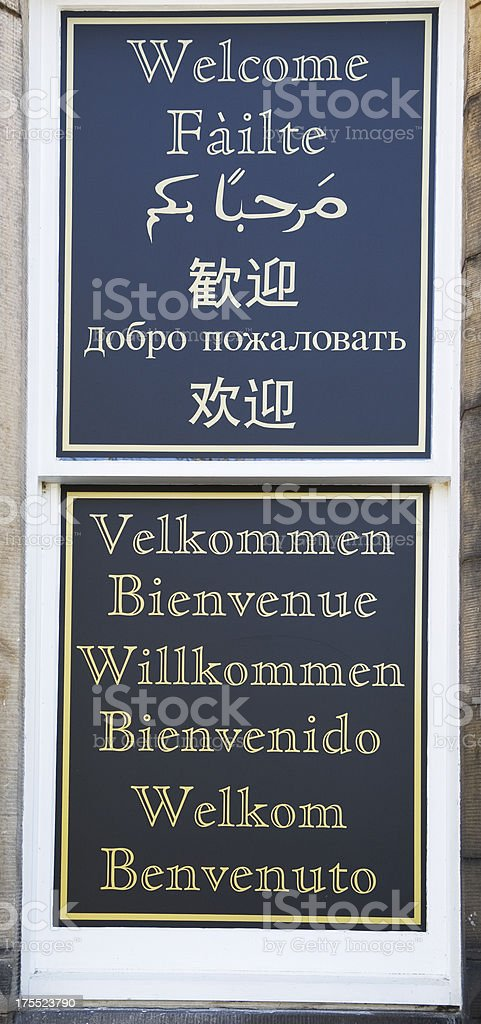 Welcome sign in many languages royalty-free stock photo
