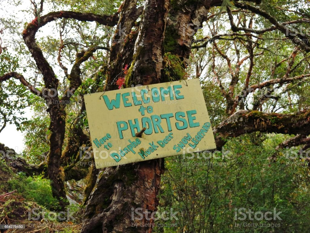 Welcome sign in Phortse stock photo