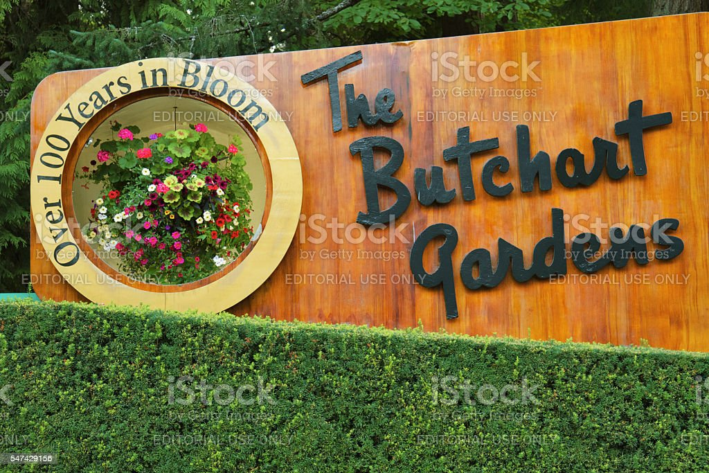 Welcome Sign of Butchart Gardens in Victoria BC stock photo