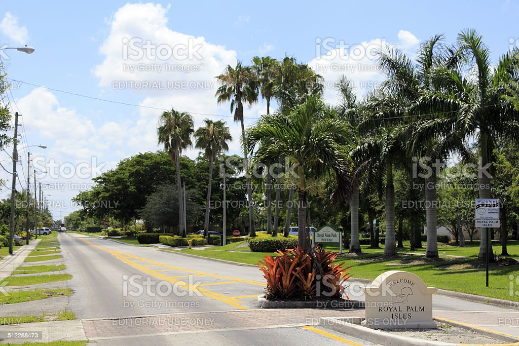 Welcome Sign of Royal Palm Isles stock photo