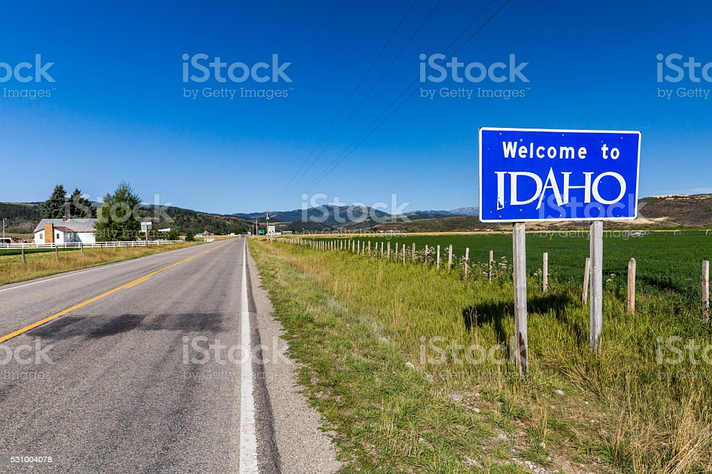 Welcome sign to Idaho State stock photo