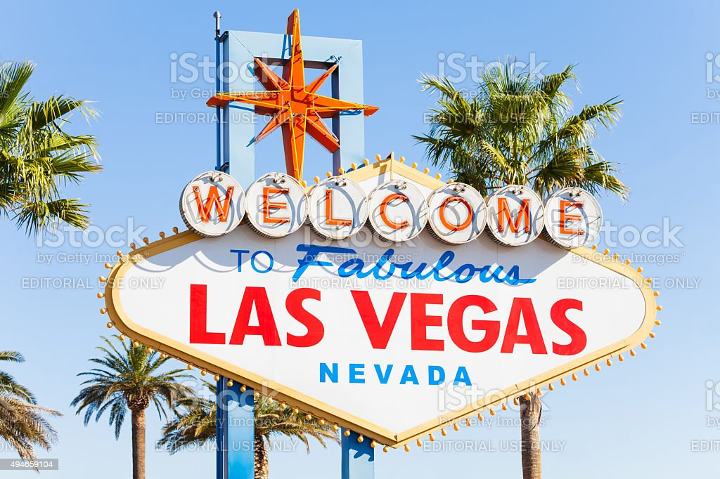 Welcome sign to Las Vegas close-up view in summer stock photo