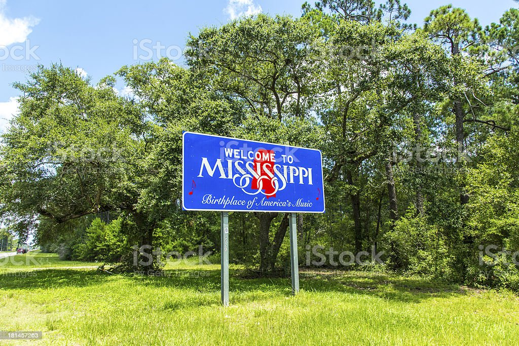 welcome sign to Mississippi stock photo