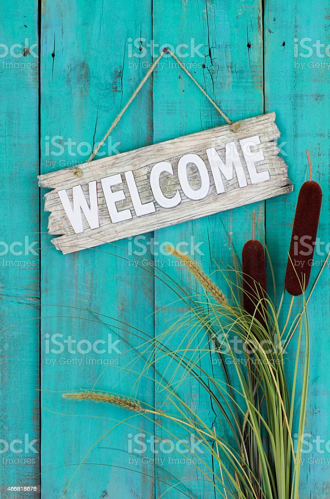 Welcome sign with cattails border stock photo