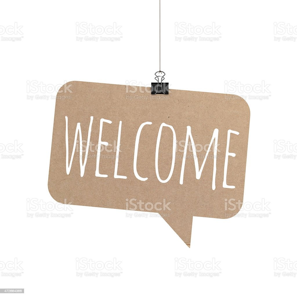 Welcome speech bubble hanging on a string stock photo