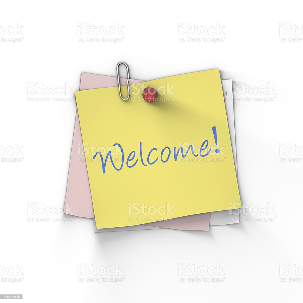 Welcome sticky note. royalty-free stock photo