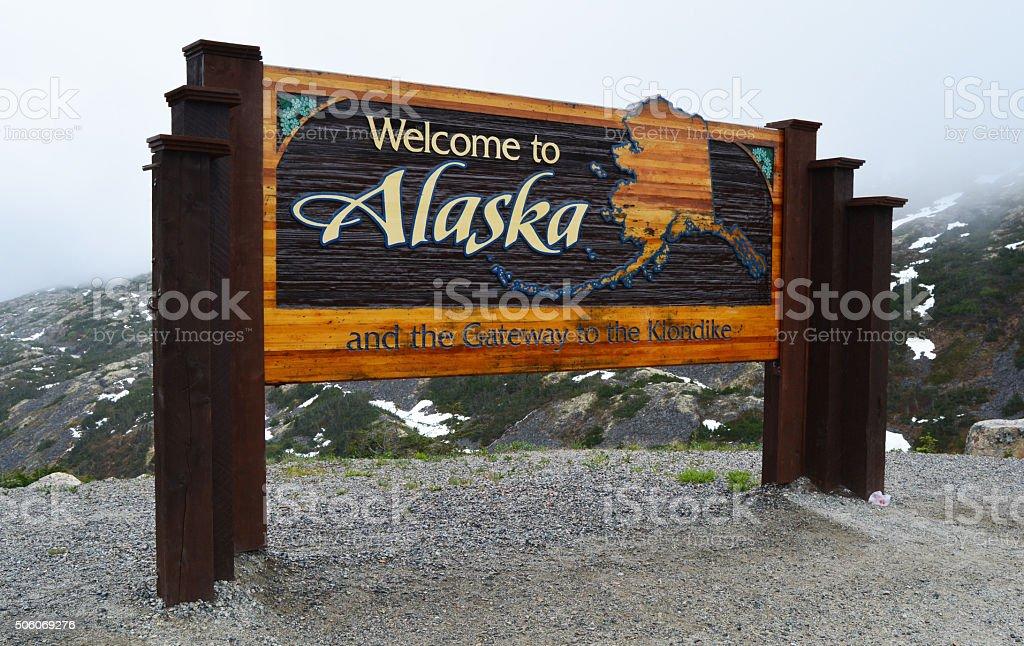 Welcome to Alaska Sign stock photo