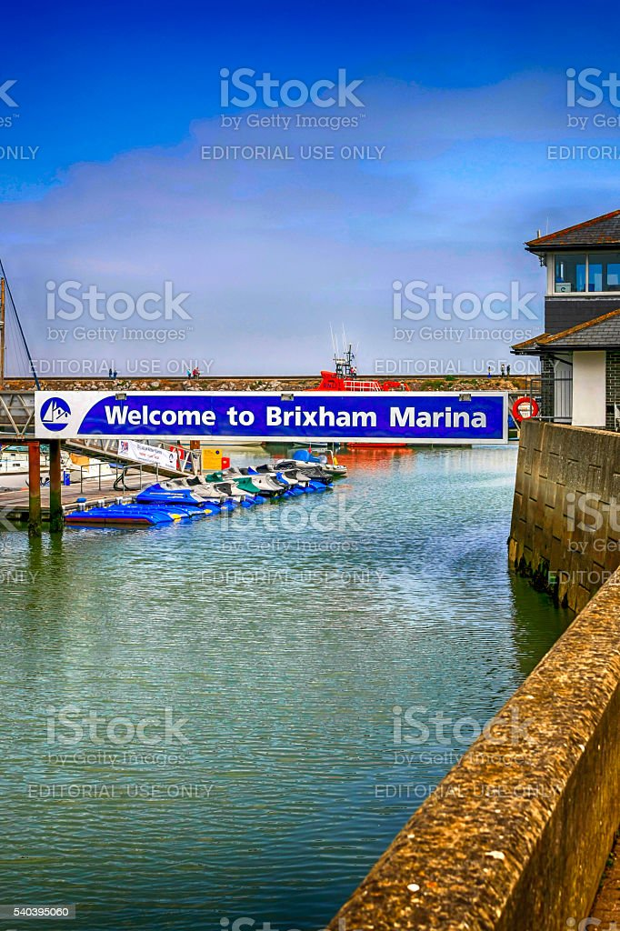 Welcome to Brixham Marina sign in Brixham, UK stock photo