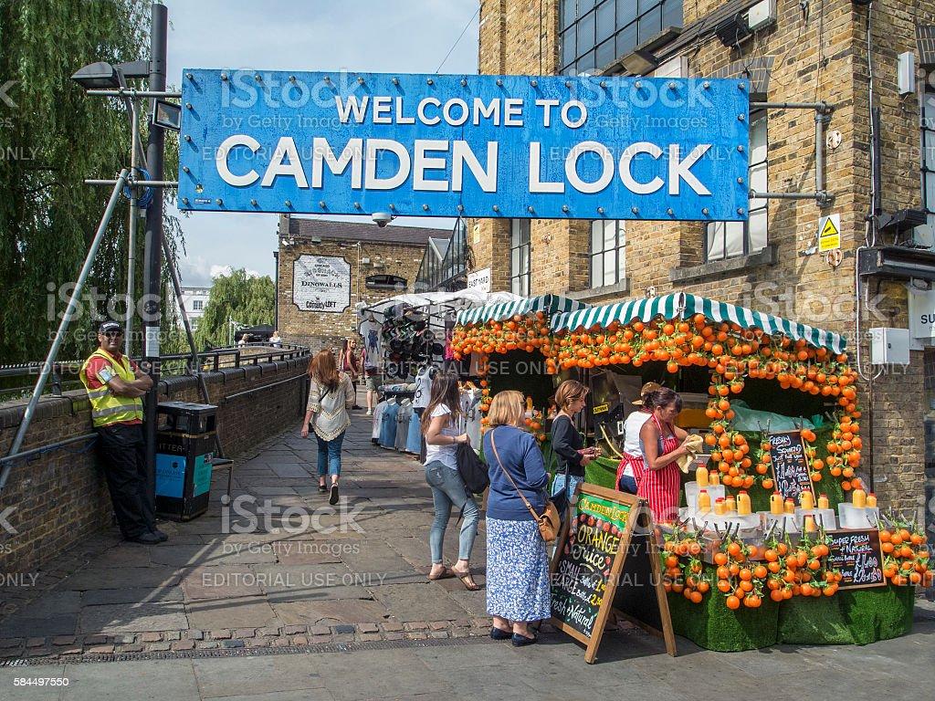 Welcome to Camden Lock stock photo