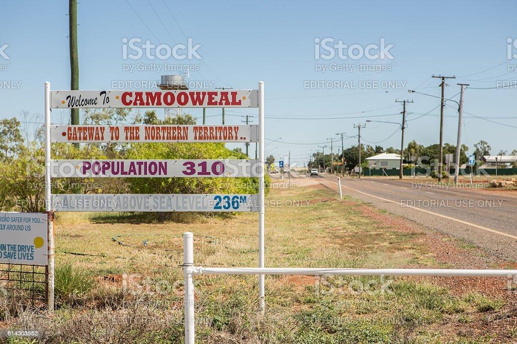 'Welcome to Camooweal' stock photo