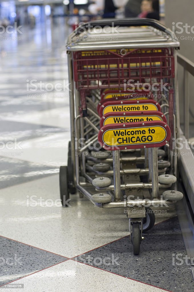 Welcome to Chicago Luggage Cart Signs at O'Hare International Airport stock photo