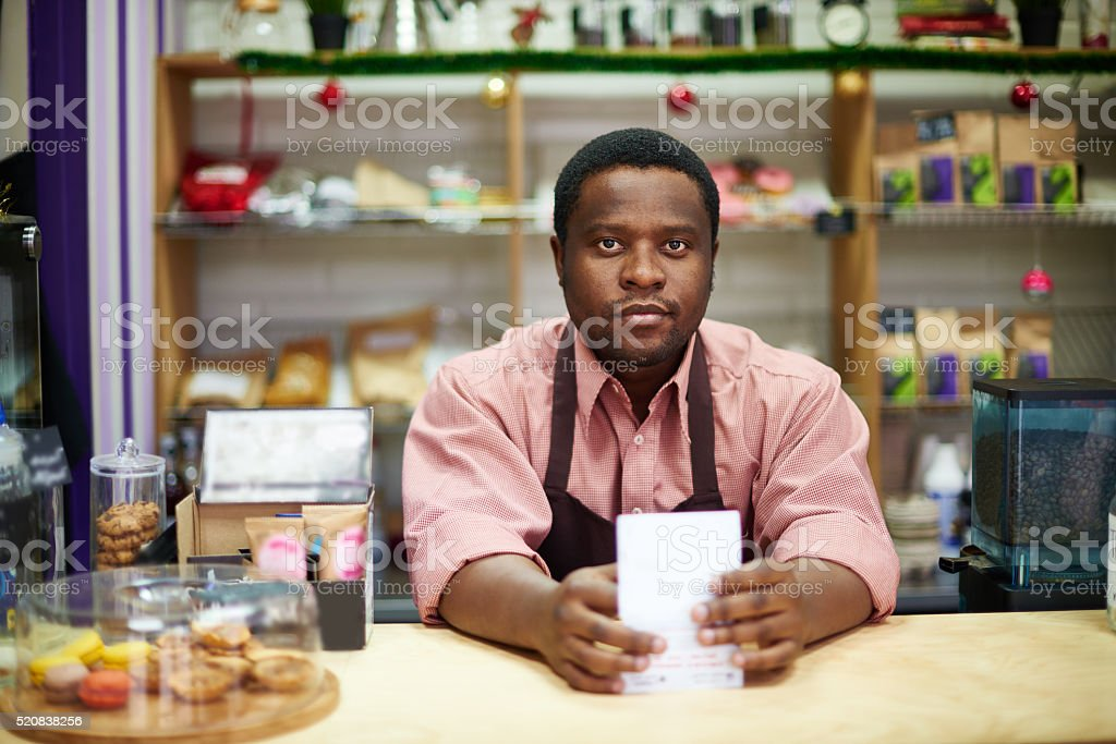 Welcome to coffee shop stock photo