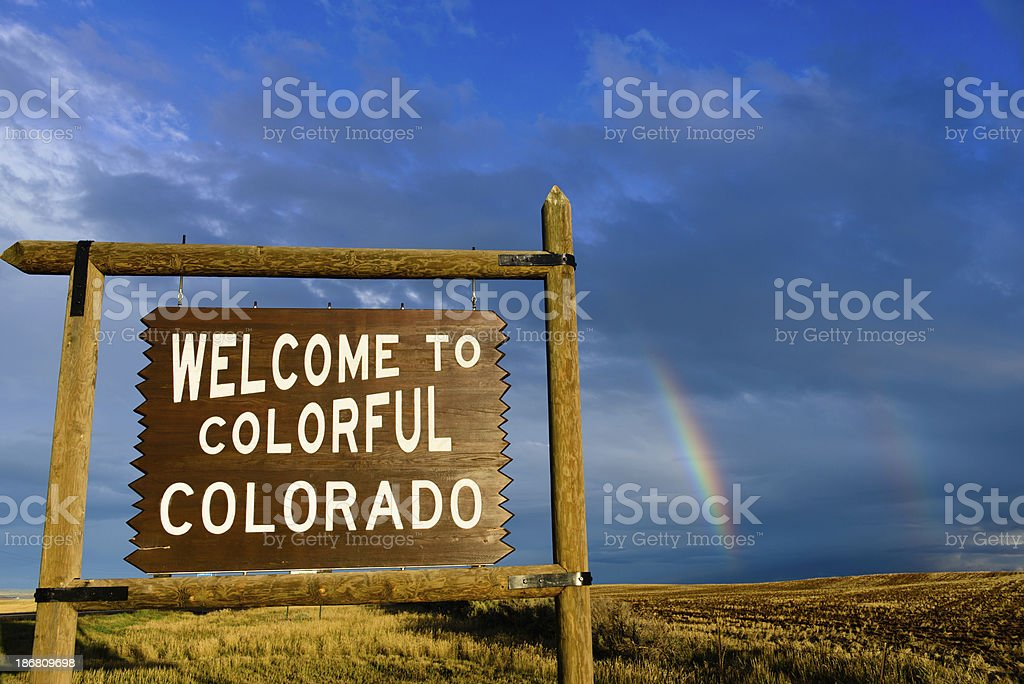 Welcome to Colorful Colorado - Double Rainbow stock photo