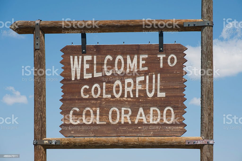 Welcome to Colorful Colorado Sign royalty-free stock photo