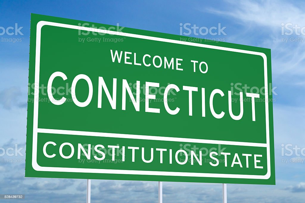 Welcome to Connecticut state road sign stock photo