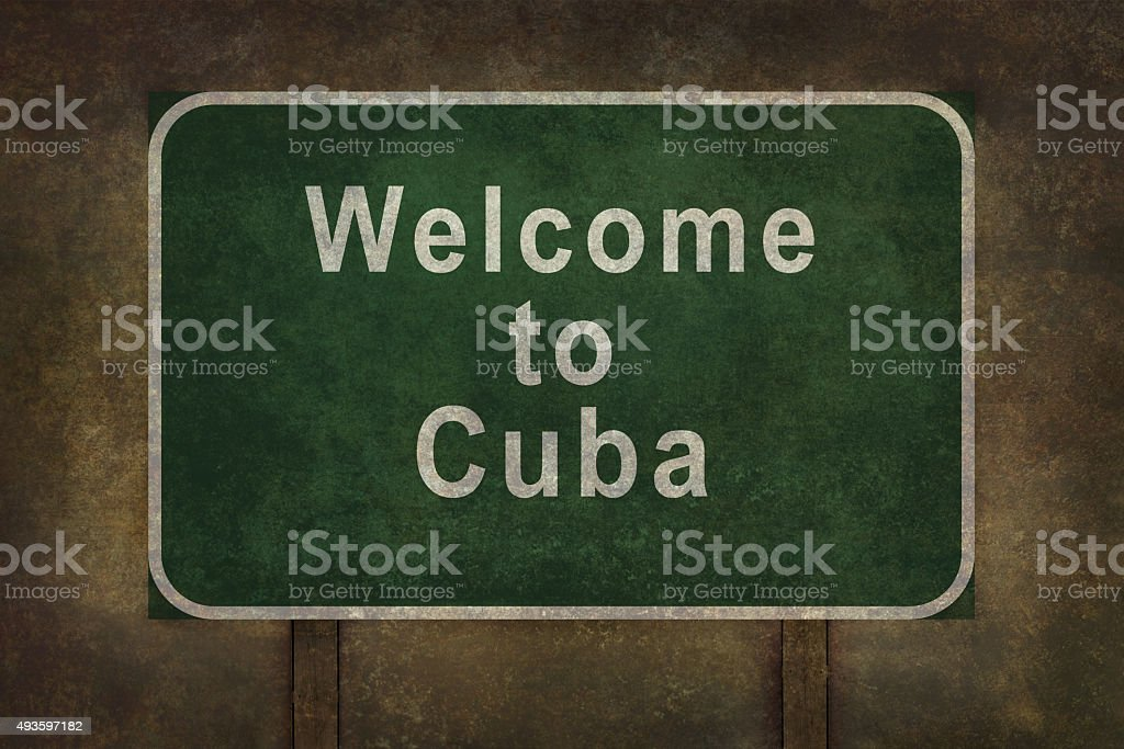 Welcome to Cuba roadside sign illustration stock photo