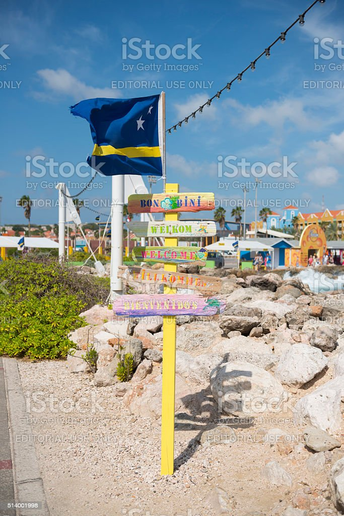 Welcome to Curacao sign stock photo
