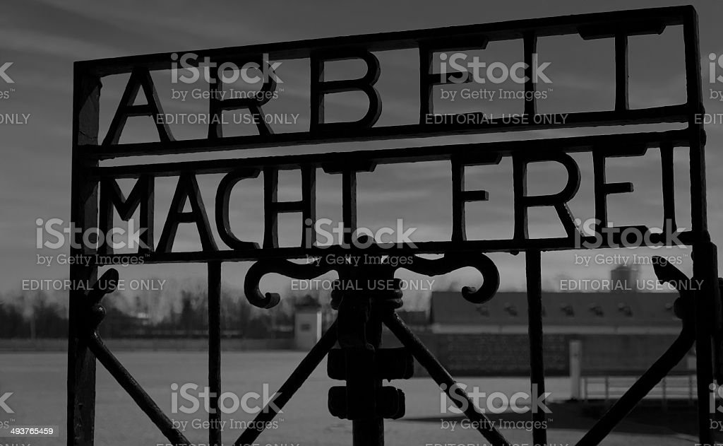 Welcome to Dachau sign. stock photo