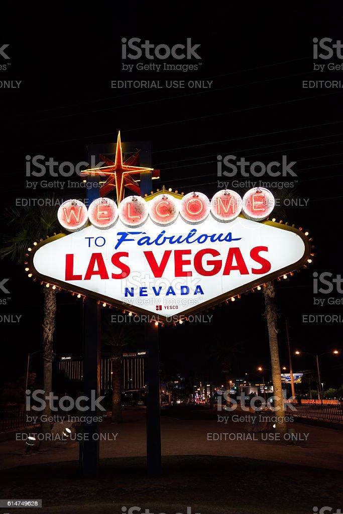 Welcome to Fabulous Las Vegas Nevada neon sign stock photo